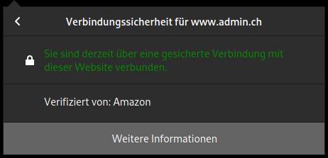 Browserfenster www.admin.ch verifiziert von Amazon